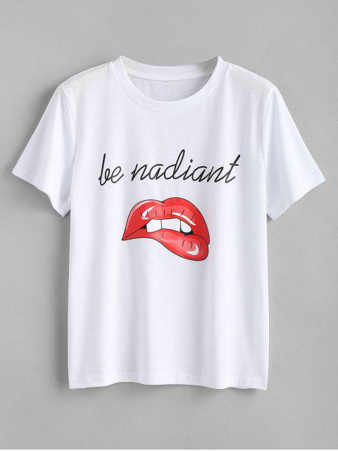 ladies Letter Lips Print T Shirt - WHITE S Mobile