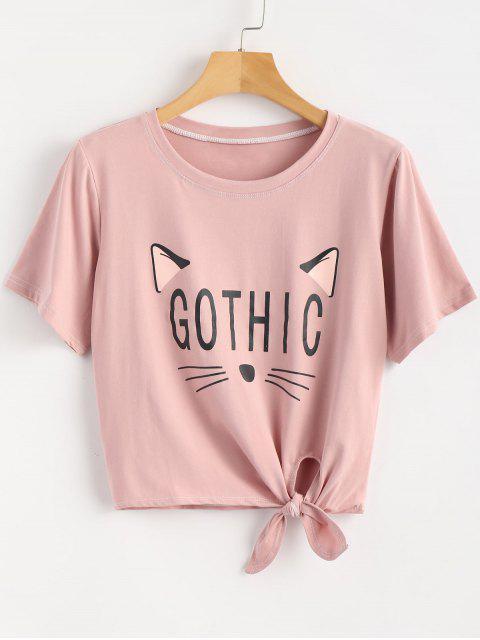 Camiseta con gráfico de anudado de gato - Rosa Khaki Talla única Mobile