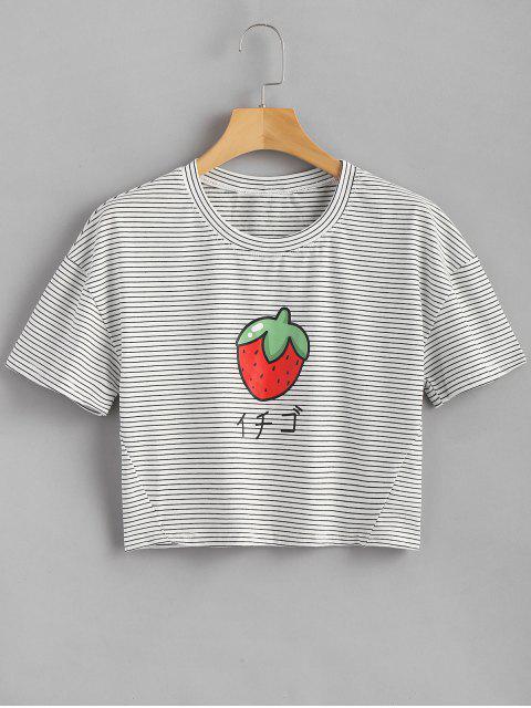 Camiseta de fresa a rayas - Blanco Única Talla Mobile