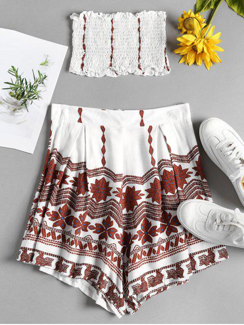 fashion Smocked Bandeau Top and Shorts Set - WHITE M Mobile