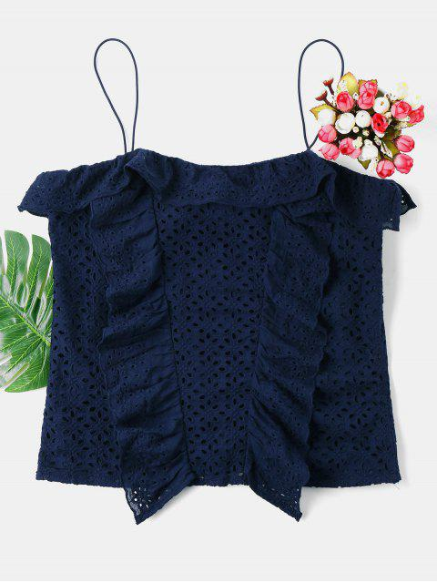 latest Ruffles Eyelet Cami Top - DEEP BLUE XL Mobile