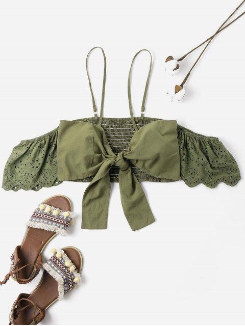 affordable Bowknot Smocked Cold Shoulder Crop Top - ARMY GREEN XL Mobile