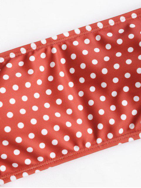Bikini de nudo sin tirantes con lunares - Castaño Rojo L Mobile