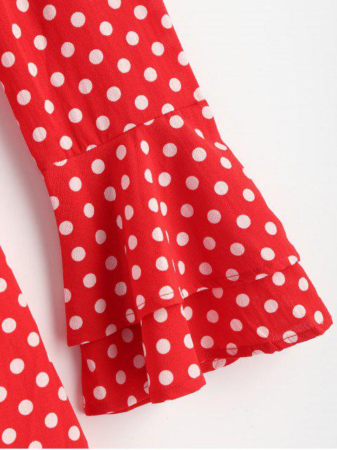 online Off The Shoulder Polka Dot Party Dress - FIRE ENGINE RED S Mobile