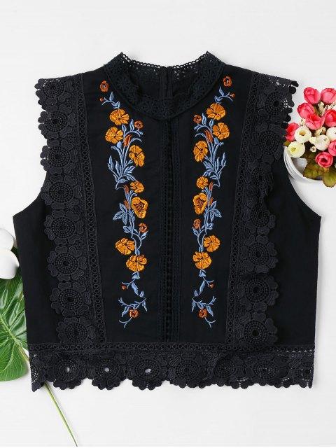Blumen Bestickte Spitze Bluse - Schwarz XL Mobile