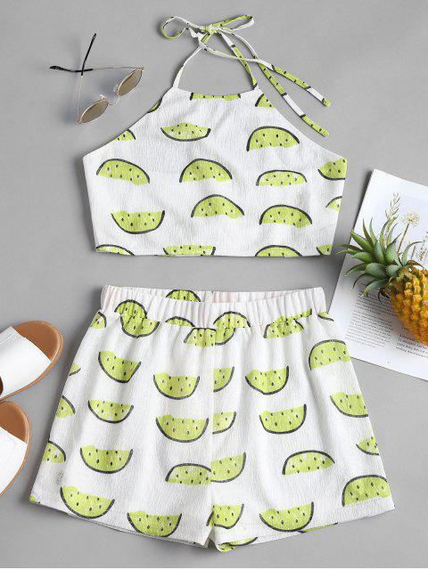 Conjunto de pantalones cortos de halter de sandía - Blanco L Mobile