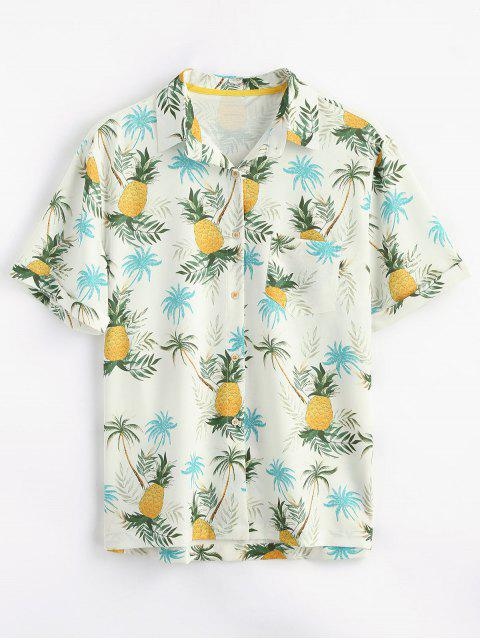 sale Button Up Pineapple Print Pocket Shirt - YELLOW M Mobile