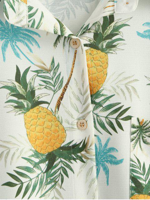 affordable Button Up Pineapple Print Pocket Shirt - YELLOW S Mobile