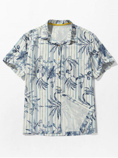 Camisa de playa a rayas con bolsillo y estampado de hojas - Azul Cobalto S Mobile