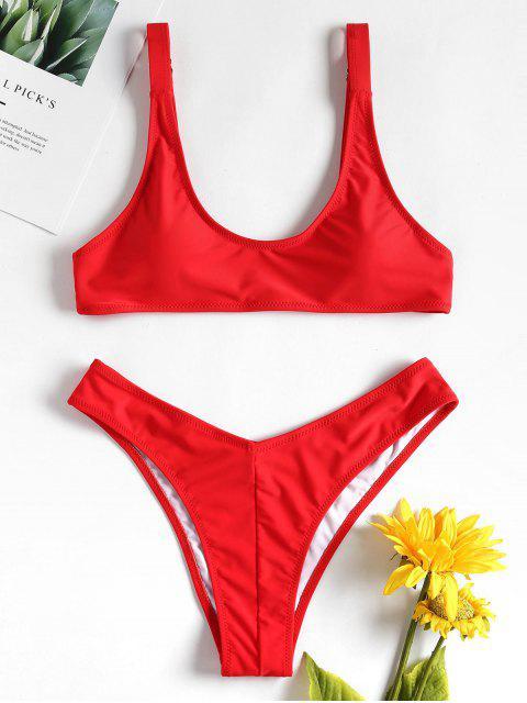 Gitter Hohes Bein Bikini Set - Lava Rot L Mobile