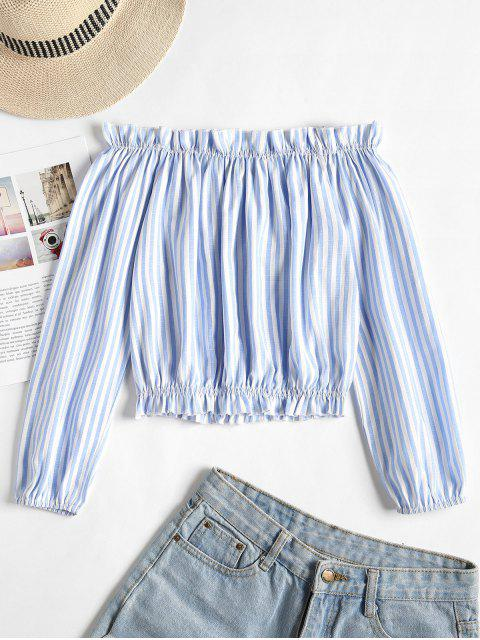 online Striped Frilled Off The Shoulder Top - LIGHT SKY BLUE S Mobile