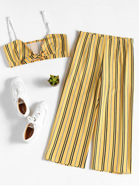 lady Striped Crop Top Culottes Matching Set - BRIGHT YELLOW M Mobile
