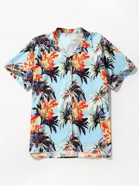 chic Flowers Printed Short Sleeve Shirt - BUTTERFLY BLUE XL Mobile