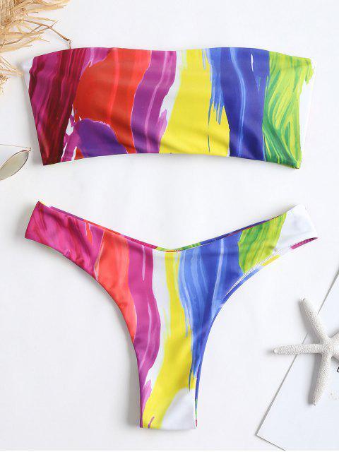 Bikini en Tube Tressé et Peint D'arc-en-ciel - Multi M Mobile