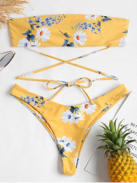 Conjunto de bikini palabra de honor floral - Mostaza L Mobile