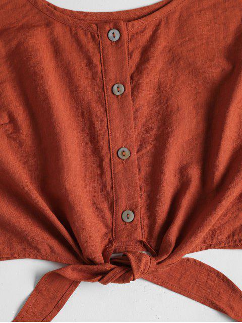 Set Top Corto Sin Mangas y Shorts - Naranja Oscuro M Mobile