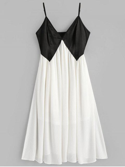 best Two Tone Cami Dress - WHITE L Mobile