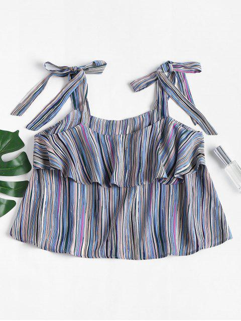 affordable Tied Straps Striped Tank Top - MULTI L Mobile