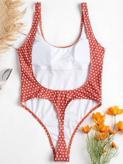 Polka Dot High Cut Backless Swimsuit, Chestnut red