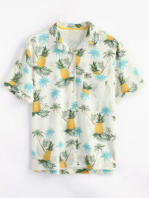 Camisa de bolsillo con estampado de piña y botones