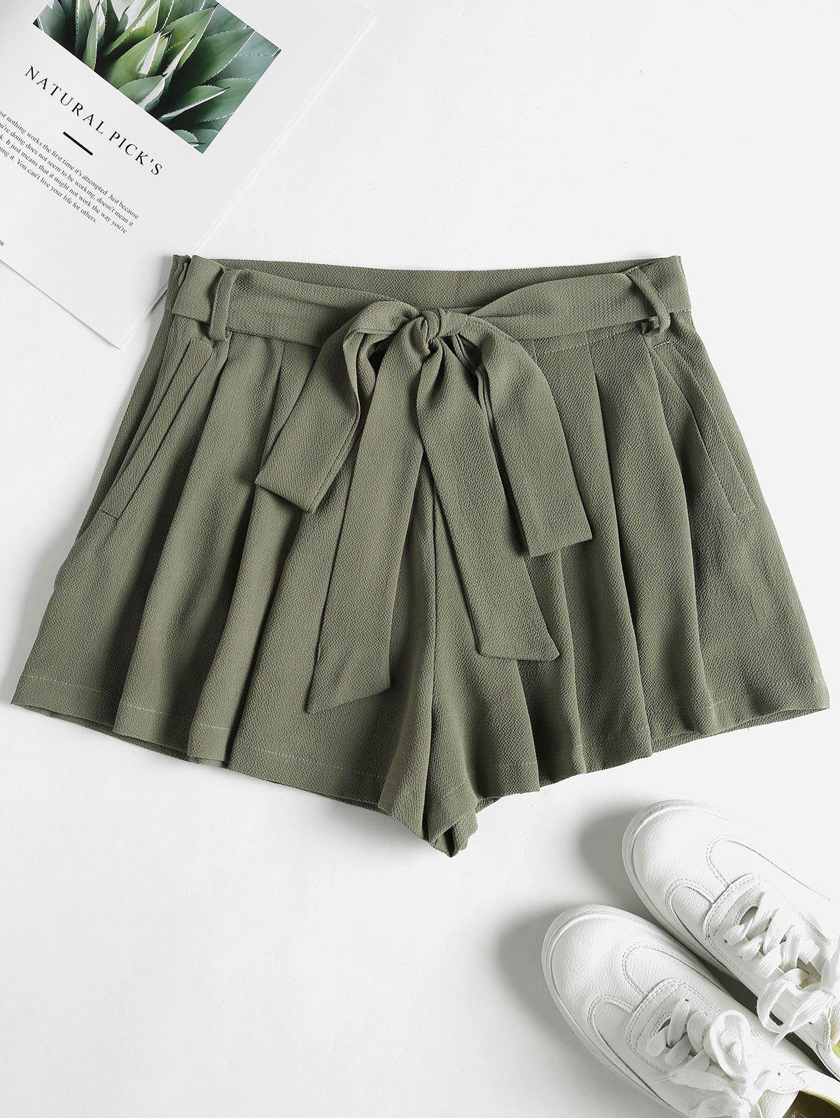 Pockets High Waisted Paper Bag Shorts
