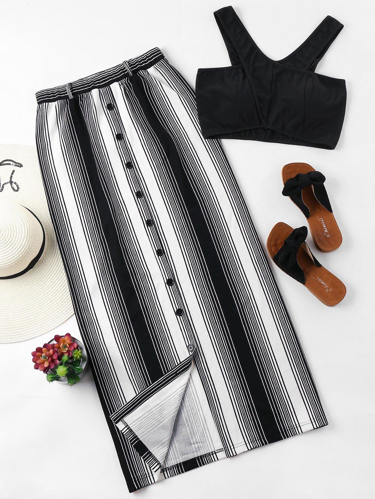 Striped Button Up Skirt Set