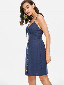 Profundo Con Vestido Patinaje Delantero M Mini Azul Lazo q61wTZ