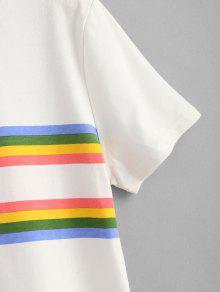 Del Blanco Estampada De Rayas Panel S Camiseta 4qpTxB5