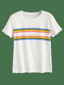 Estampada Rayas Panel Blanco Camiseta Del S De 4d1qxAw