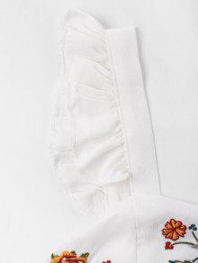 Bordados Florales Blanco Sin M Volantes Con Mangas Top AZ8qI8