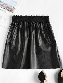 تنورة قصيرة من جلد صناعي قصير - أسود S