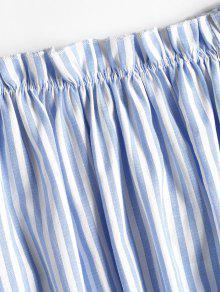 Hombro Striped La Parte L De Frilled Del Ligero Superior Celeste PwUqY