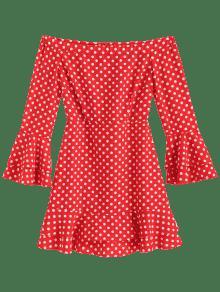 Cami Con Del Lunares De Vestido Hombro De Bomberos De Fiesta 243;n S Rojo Fuera YXtxxzFq