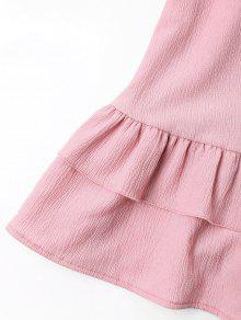 M Botones Niveles Cami Rosado Vestido Con xCqw4X