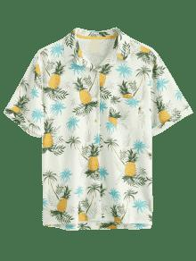 Xl a Con Bolsillo Camisa Estampado Y Amarillo Pi De Botones De wgwHqYv
