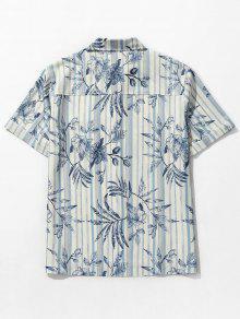 Cobalto Estampado A Bolsillo Con De Playa Hojas Azul De Rayas Y Camisa 2xl EXwP1q0E