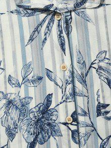 Azul De Hojas Rayas Bolsillo 2xl Cobalto De Playa Estampado A Camisa Y Con Fq4Bg4x