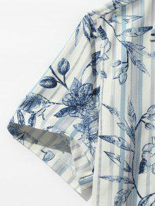 Estampado De Camisa 2xl Con A De Rayas Azul Hojas Playa Y Bolsillo Cobalto xqRxT8