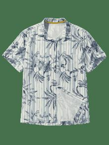 2xl Camisa A De Y Cobalto Con Hojas Bolsillo Estampado De Playa Azul Rayas AT7xqwZrA
