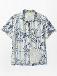 يترك طباعة الجيب مخطط قميص الشاطئ - كوبالت بلو L