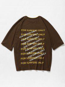 Estampada Camiseta Tono S Oscuro Dos Marr De 243;n Con Letras T4dUwx4