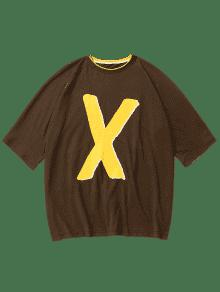 Estampada S Tono Dos Oscuro Camiseta Letras De 243;n Con Marr SdzqgP