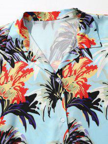 Estampada Flores Azul De Mariposa Camisa Corta 2xl Manga t6qzfwP