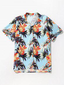 قميص بطبعات زهور مطبوعة - الفراشة الزرقاء M