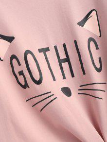 Gr Rosa Khaki Camiseta 225;fico De Gato Con De Anudado aS7Pnq