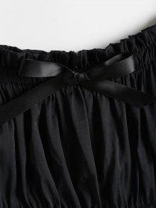 Descubiertos Negro Top Con Hombros Bowknot S qwp8ExAB
