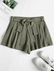 جيوب عالية مخصر حقيبة ورقة شورت - اخضر غامق M