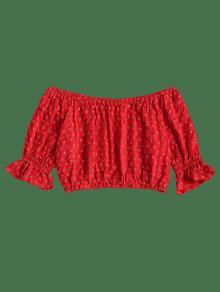 S Con Hombros De Punto Descubiertos Amo Blusa Rojo xnWRATOO0