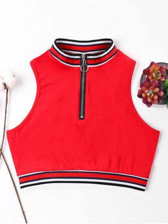 Camiseta sin mangas con cremallera y cuello redondo - Amo Rojo XL