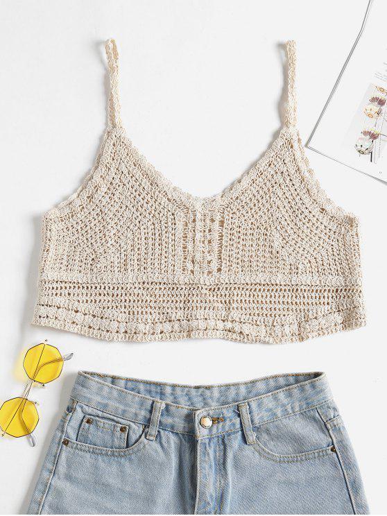 fashion Crochet Cropped Cami Top - WARM WHITE ONE SIZE